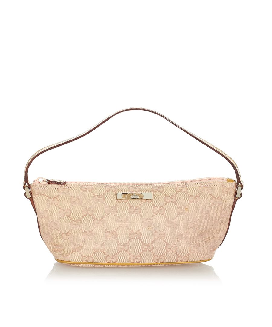 Image for Vintage Gucci GG Canvas Boat Pink