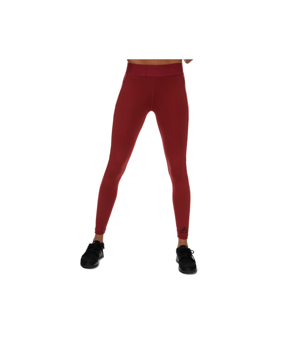 Image for Women's adidas Alphaskin Badge Of Sport Leggings in Burgundy