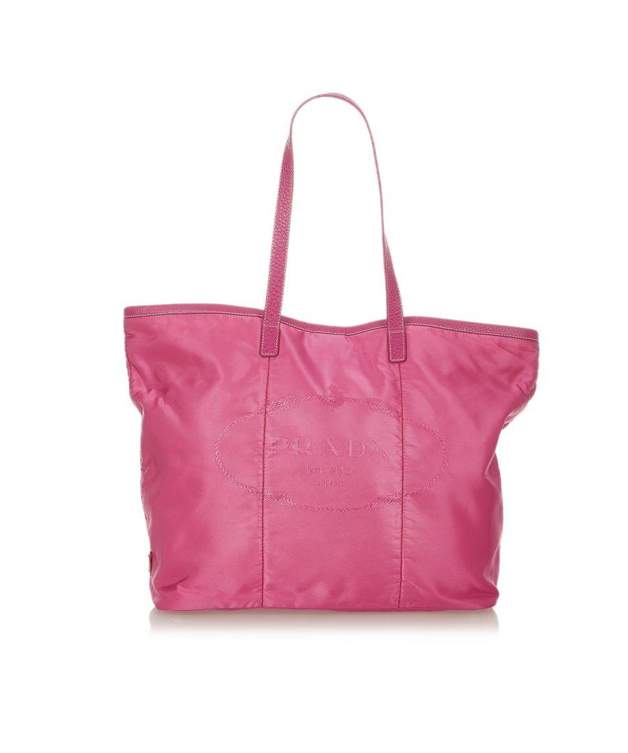 Image for Vintage Prada Tessuto Canapa Tote Bag Pink