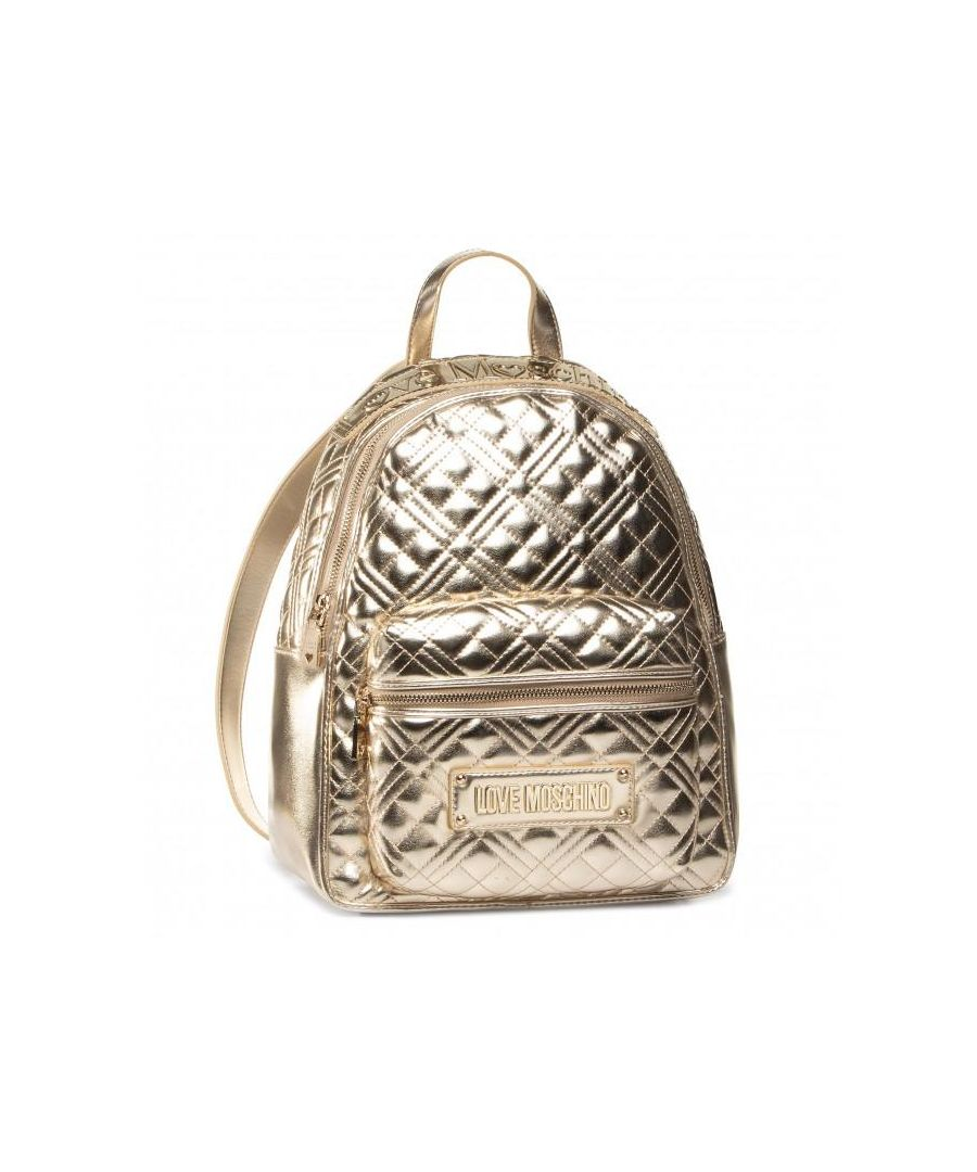 Image for Love Moschino Quilted Laminated Backpack in Gold