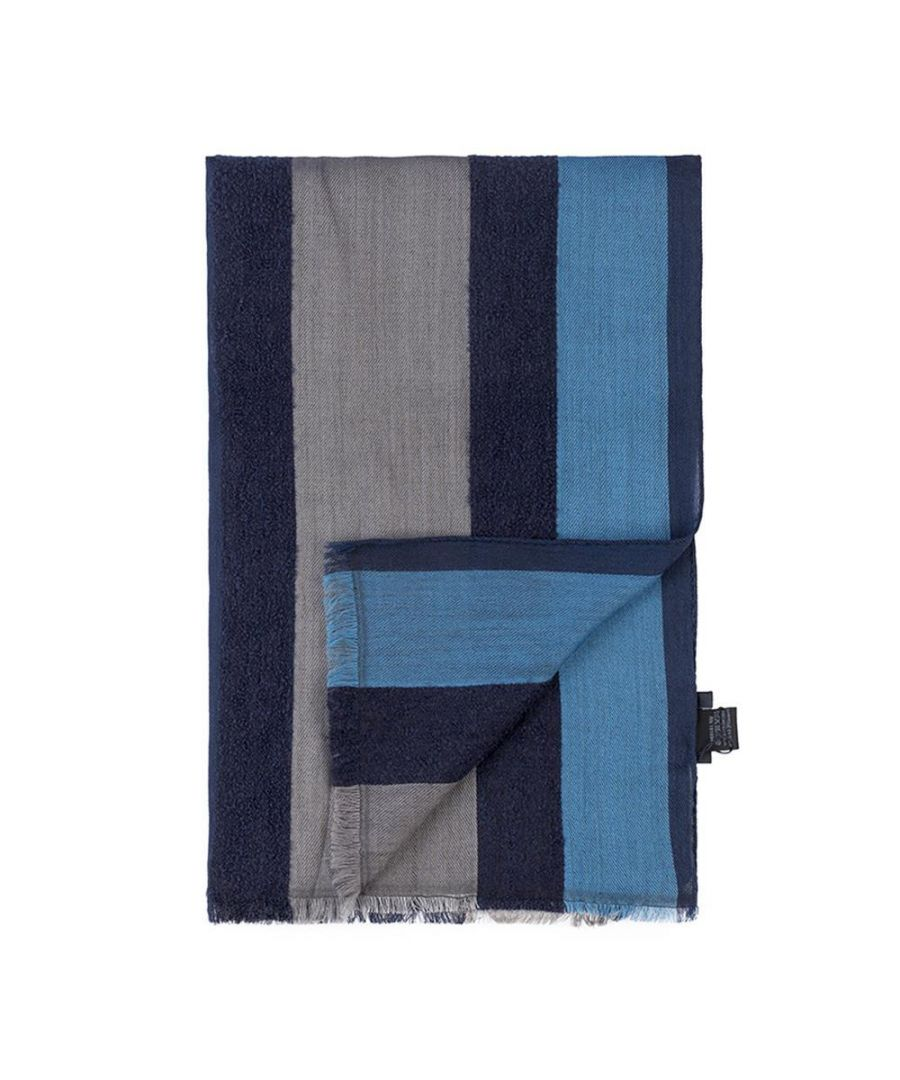 Image for Men's Hackett, Textured Stripes Scarf in Navy