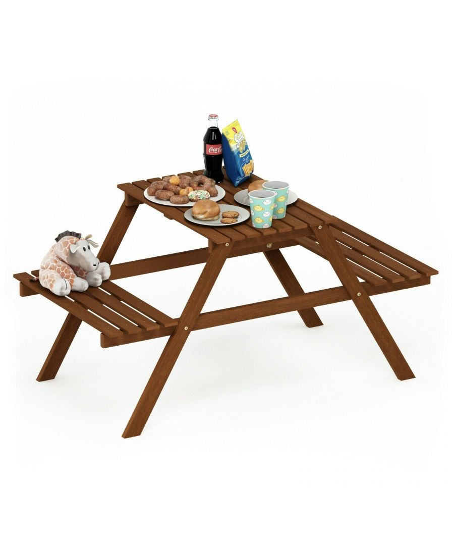 Image for Furinno Tioman Hardwood Kids Picnic Table and Chair Set in Teak Oil, Natural