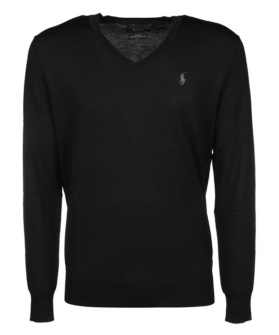 Image for RALPH LAUREN MEN'S 710714347001 BLACK WOOL JUMPER