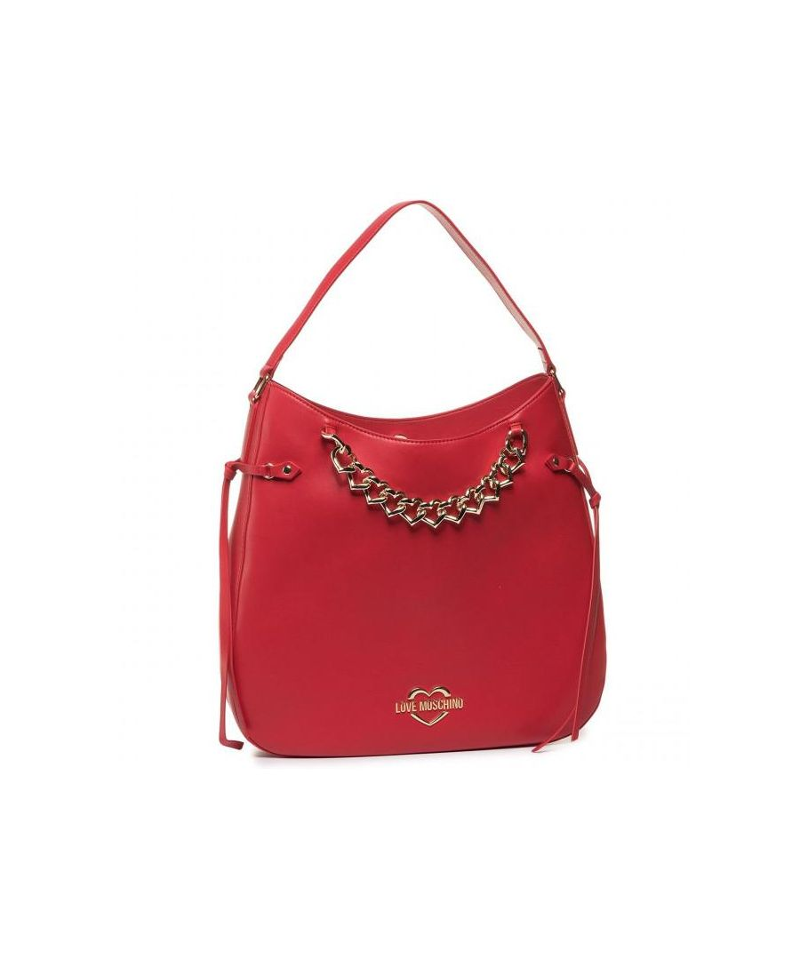 Image for Love Moschino Shoulder Bag With Chain Detail in Red