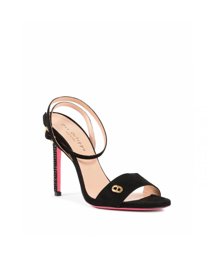 Image for Dee Ocleppo Women's Ankle Strap Sandal Black OC3505 CAMOSCIO NERO