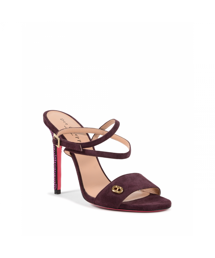 Image for Dee Ocleppo Women's Ankle Strap Sandal Plum OC3505 CAMOSCIO MELANZANA