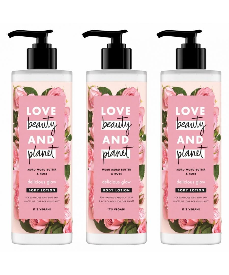 Image for Love Beauty & Planet Delicious Glow Muru Muru Butter & Rose Body Lotion 400ml (Pack of 3)