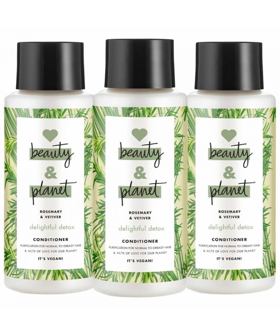 Image for Love Beauty & Planet Delightful Detox Rosemary & Vetiver Green Conditioner 400ml (Pack of 3)