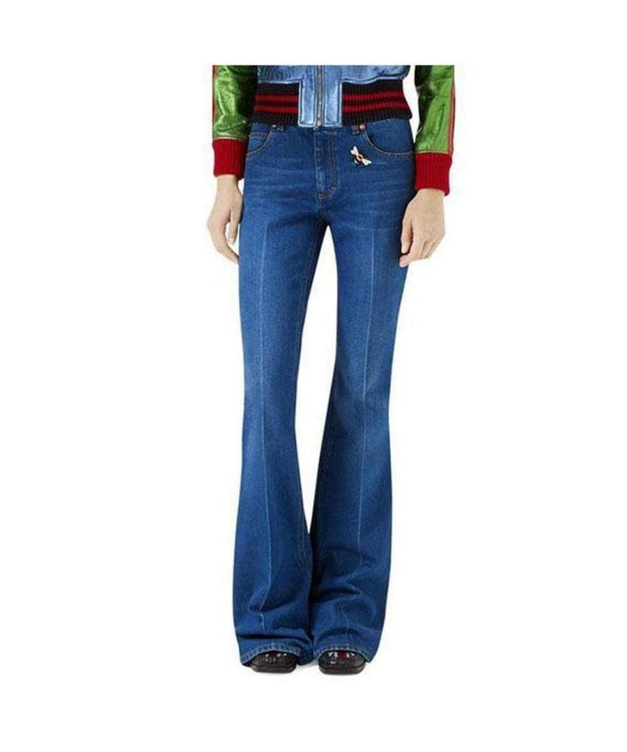 Image for Gucci Blue Flare-leg With Bee & Butterfly Patches Jeans