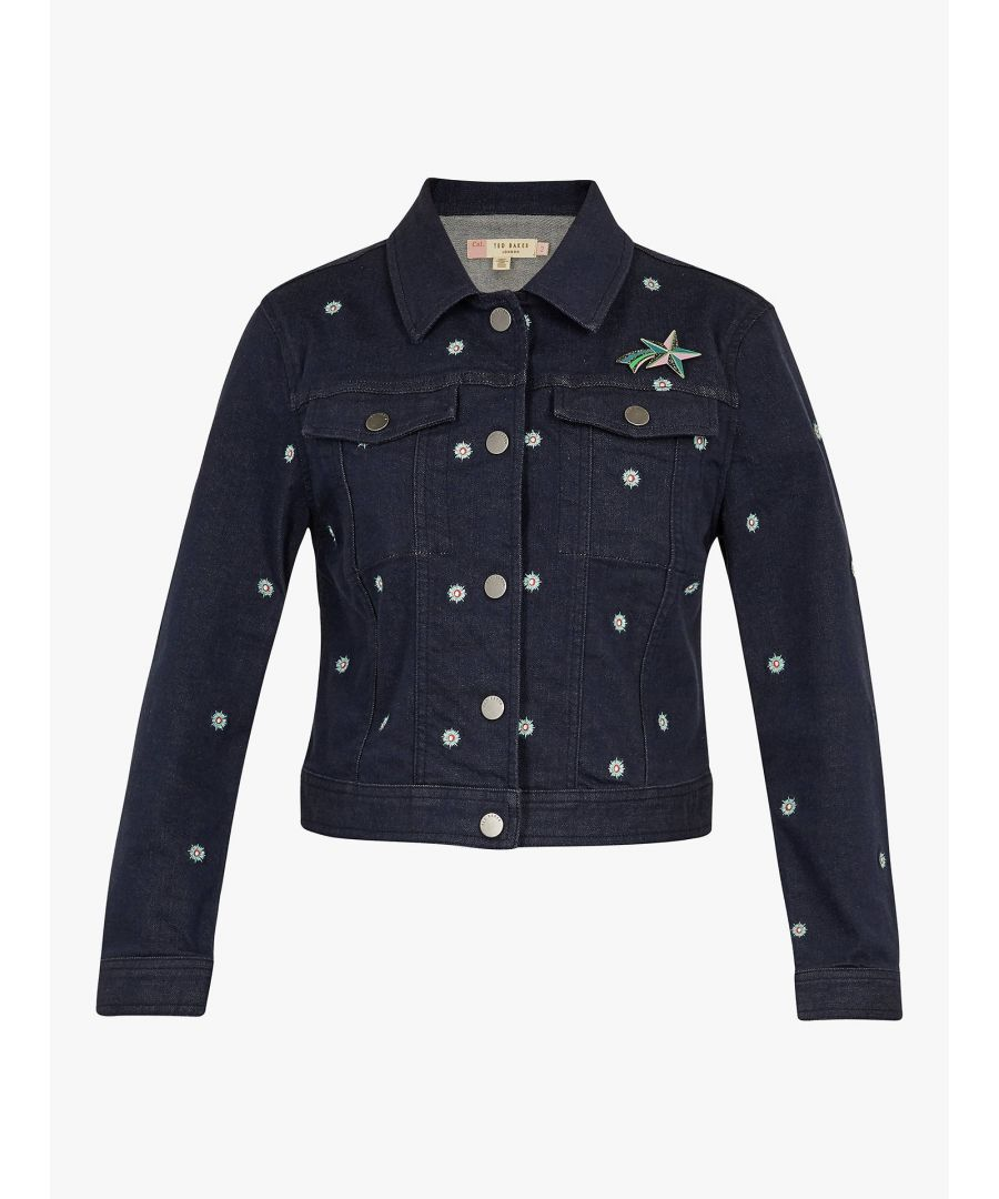 Image for Ted Baker Cavca Embroidered Denim Jacket, Mid Wash