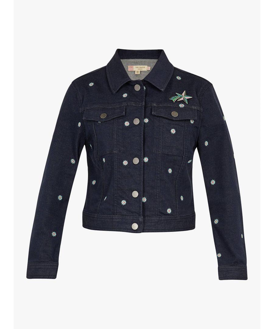Image for Ted Baker Cavca Embroidered Denim Jacket, Mid Wash