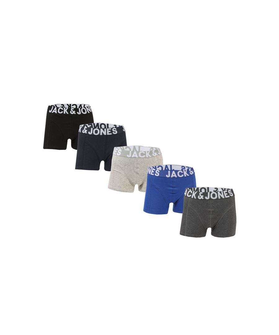 Image for Boys' Jack Jones Junior Mike 5 Pack Trunks in Multi colour