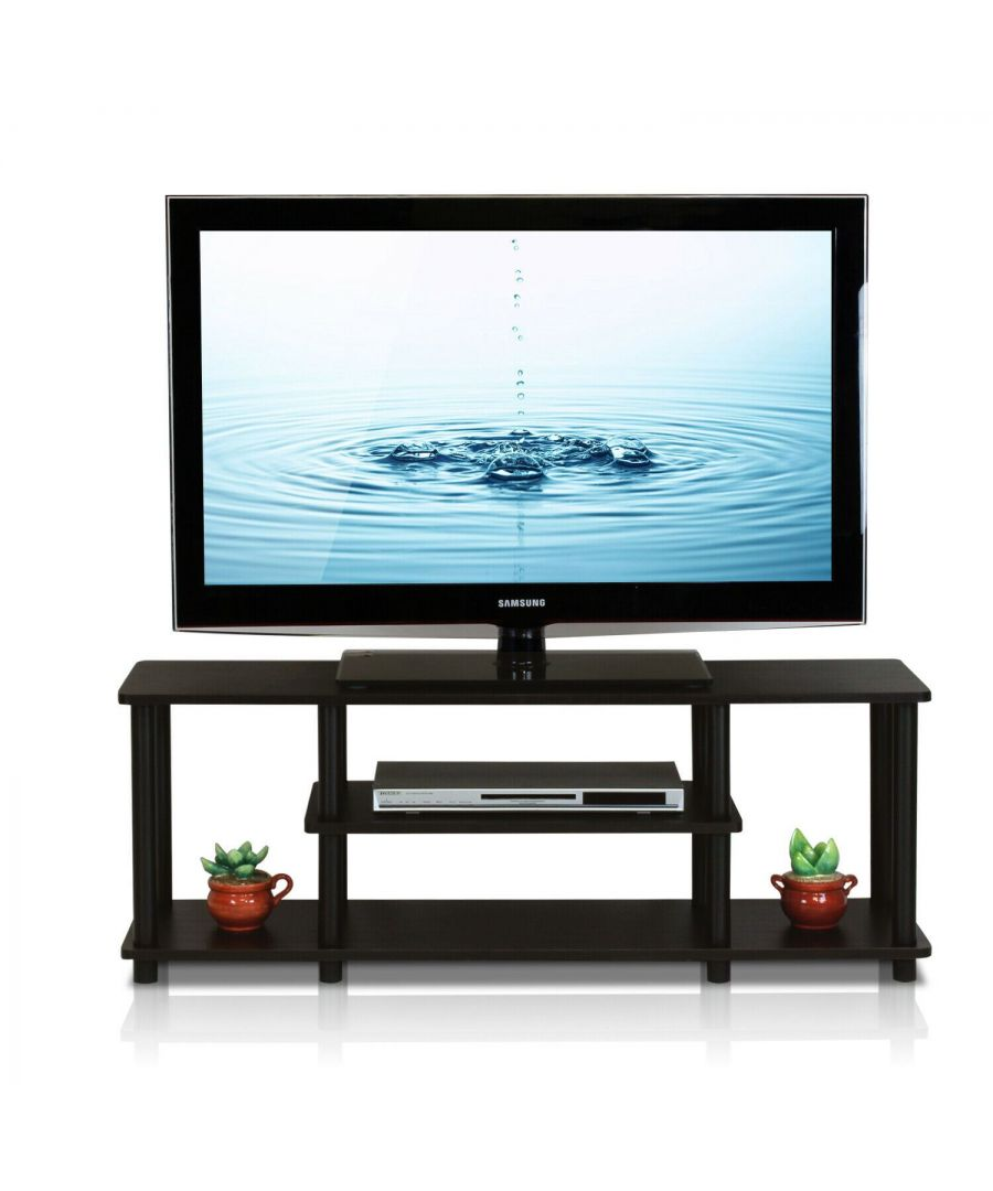 Image for Furinno Turn-N-Tube No Tools 3D 3-Tier Entertainment TV Stands - Brown