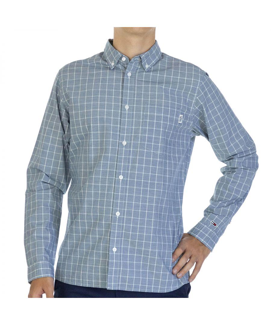 Image for Tommy Hilfiger Men Shirt Windowpane   Full sleeve Blue