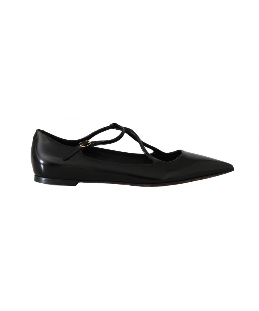 Image for Dolce & Gabbana Black Leather Leopard Ballet Flats