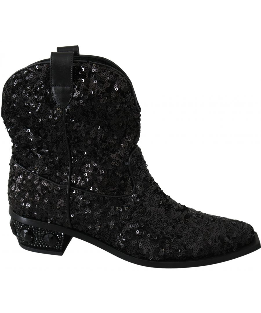 Image for Dolce & Gabbana Black Sequined Boots Cowboy Shoes