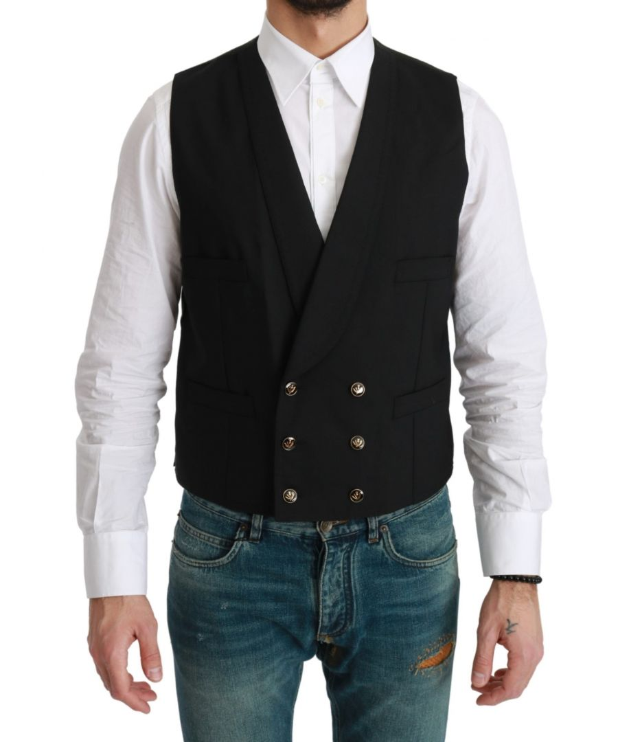 Image for Dolce & Gabbana Black Waistcoat Formal Double Breasted Vest