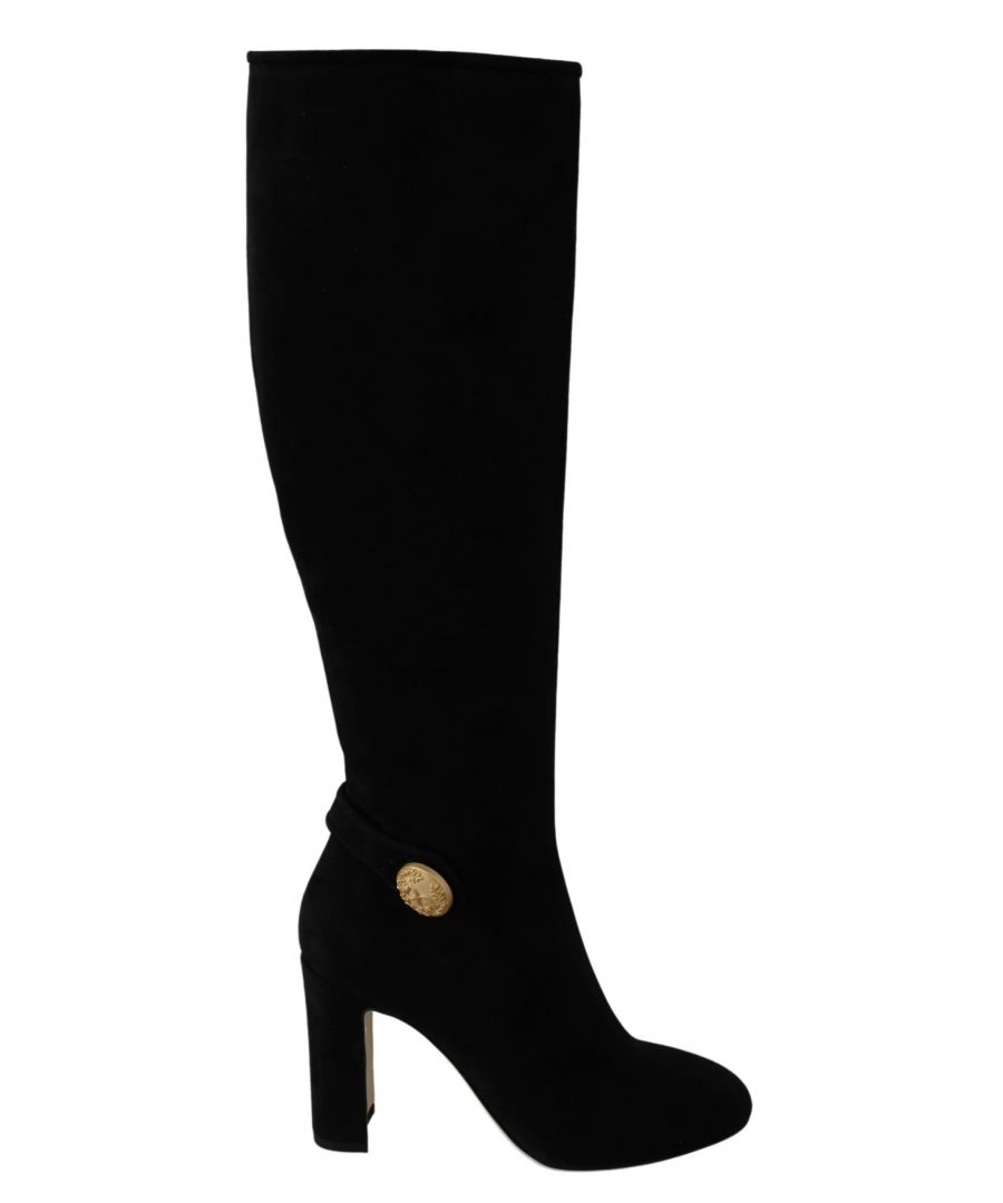 Image for Dolce & Gabbana Black Suede Gold DG Logo Knee Boots Shoes