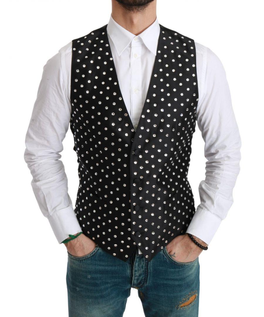Image for Dolce & Gabbana Black Crystal Waistcoat Formal Silk Vest