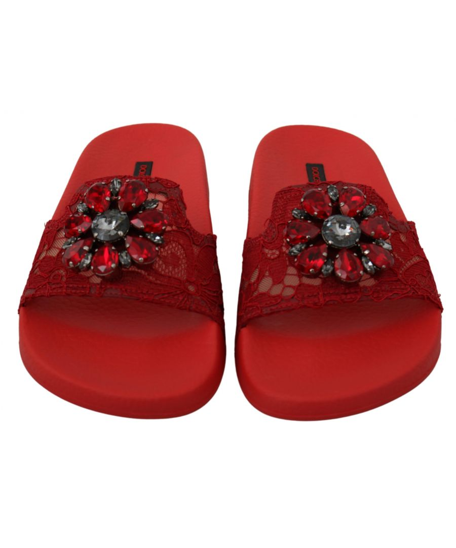 Image for Dolce & Gabbana Red Lace Crystal Sandals Slides Beach Shoes
