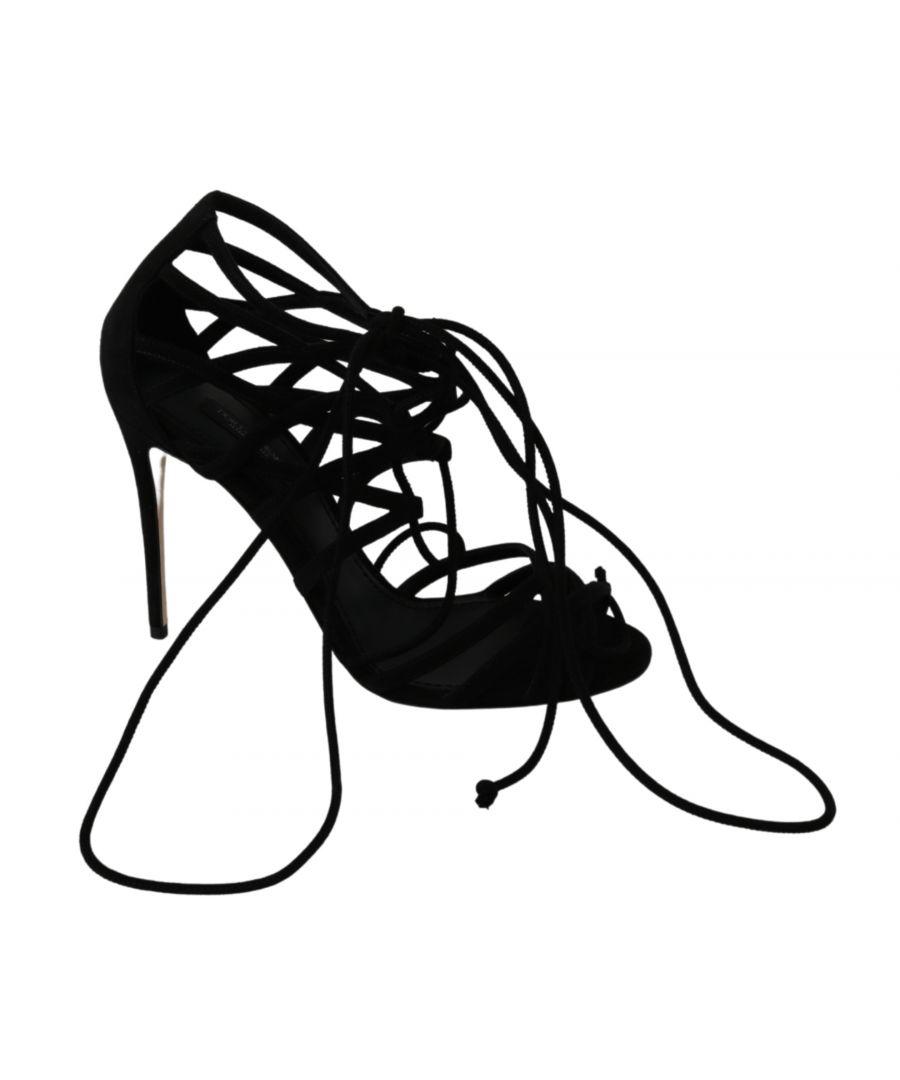 Image for Dolce & Gabbana Black Suede Strap Stilettos Shoes Sandals