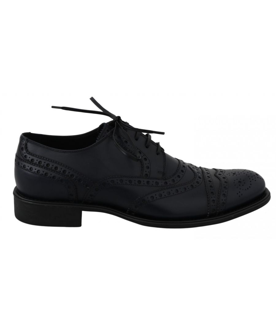 Image for Dolce & Gabbana Blue Leather Wingtip Derby Formal Shoes