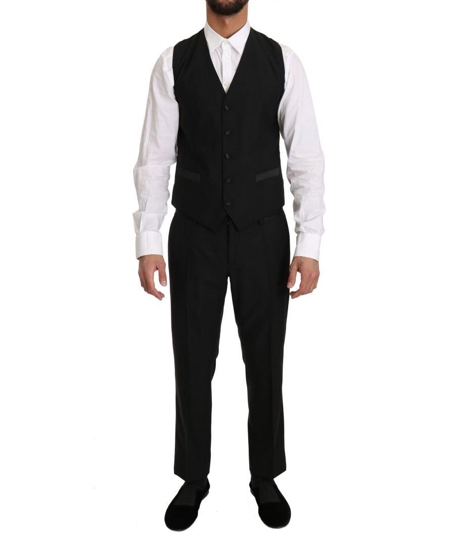 Image for Dolce & Gabbana Black Wool Dress Waistcoat Gillet Vest