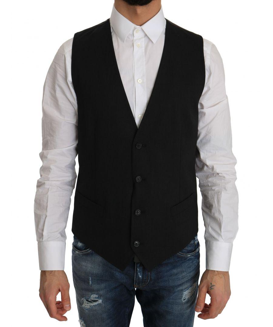 Image for Dolce & Gabbana Gray Wool Dress Stretch Vest