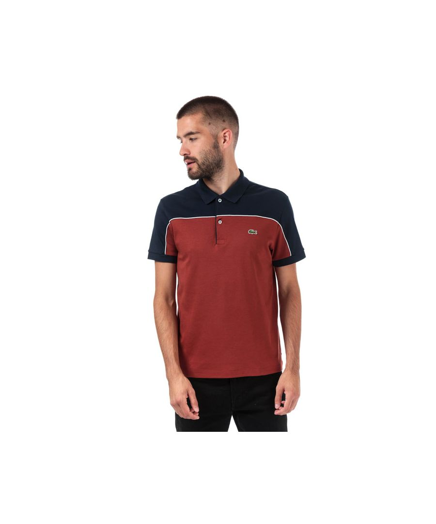 Image for Men's Lacoste Regular Fit Colourblock Polo Shirt in Yellow navy