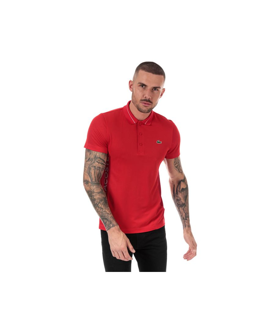 Image for Men's Lacoste Lettering And Panels Knit Golf Polo in Red