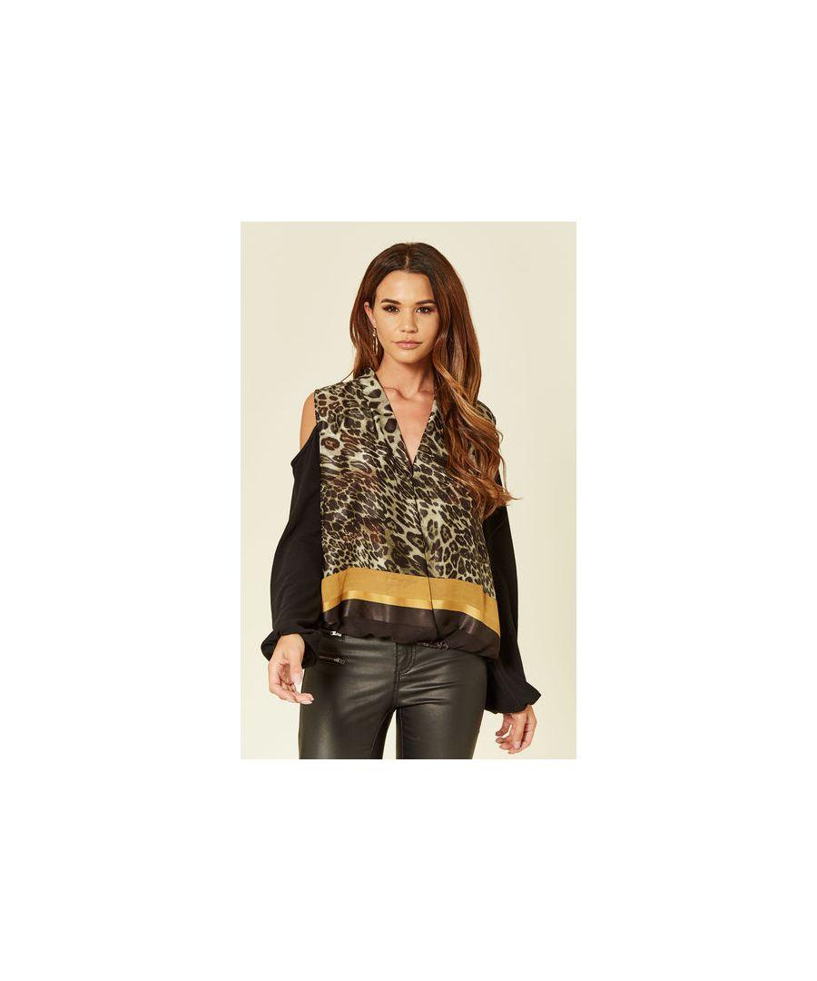 Image for Dolly Leopard Print Cold Shoulder Top in Black