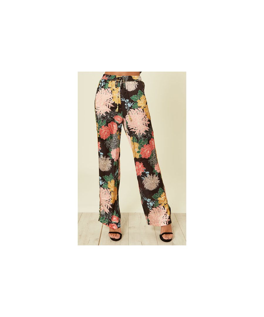 Image for Jessie Floral Satin Wide Leg Trousers in Black