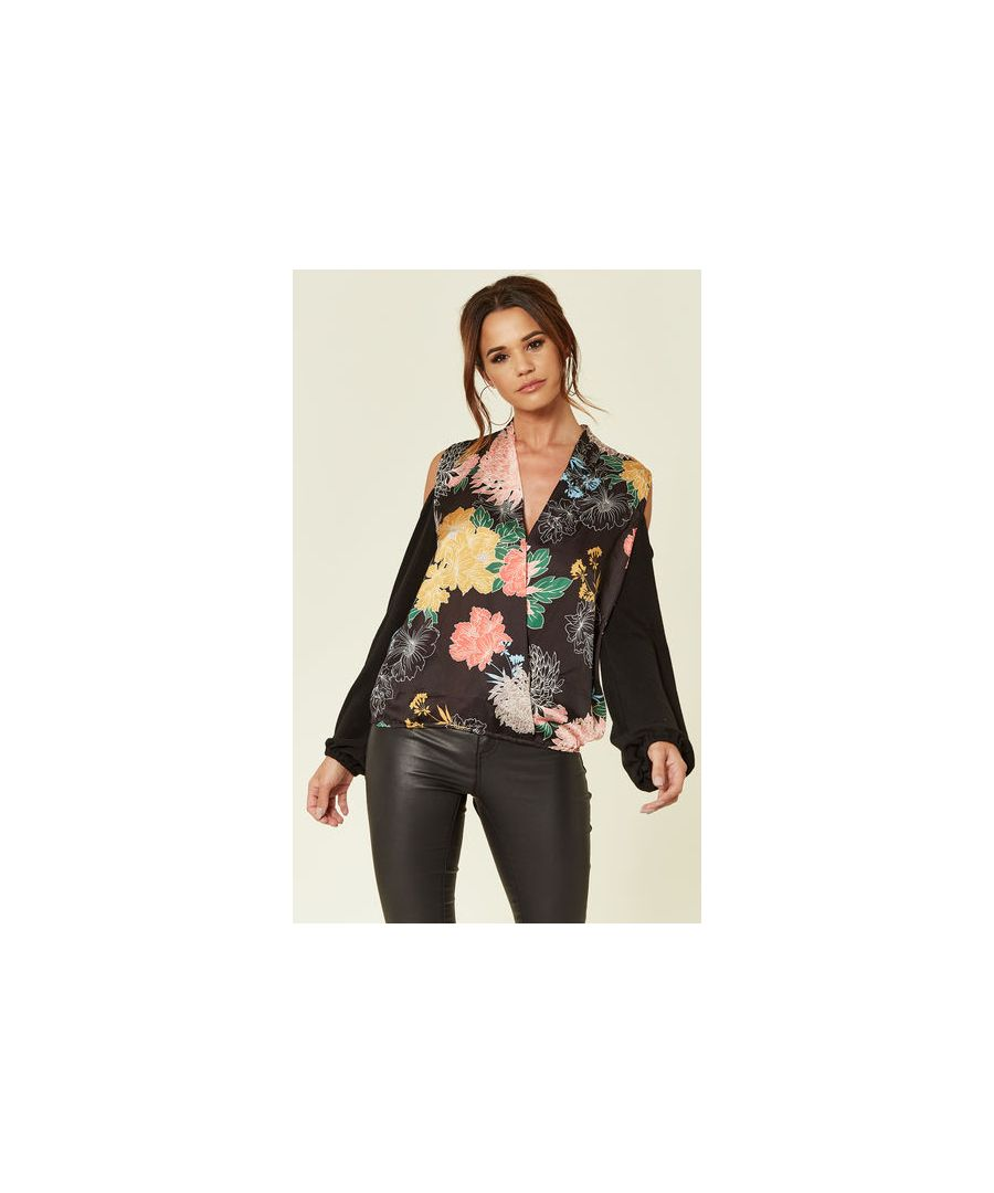 Image for Lotus Floral Off the Shoulder Satin Going Out Top in Black