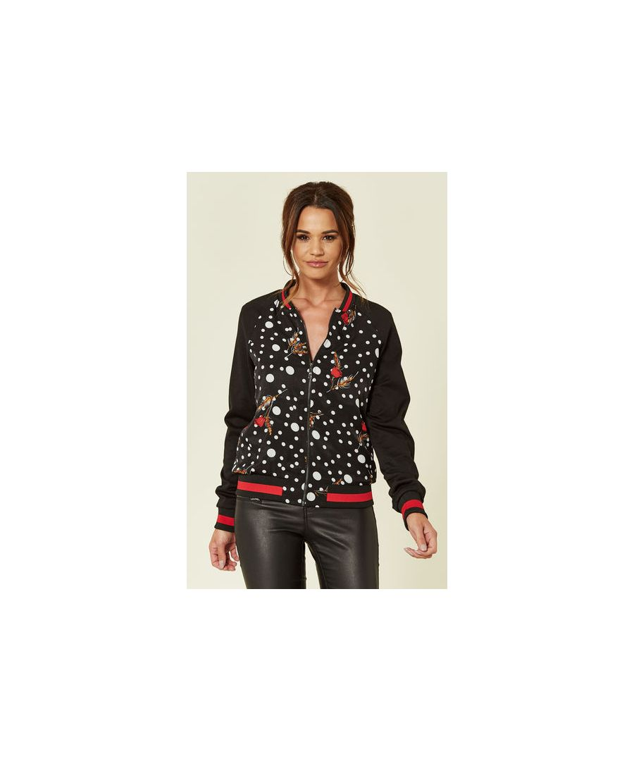 Image for Roller Disco Dreams Polka Dot Satin Bomber Jacket in Black