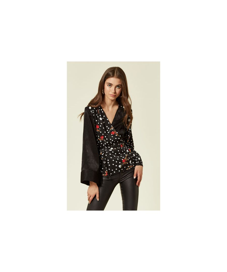 Image for Roller Disco Dreams Long Sleeved Polka Dot Satin Wrap Top in Black