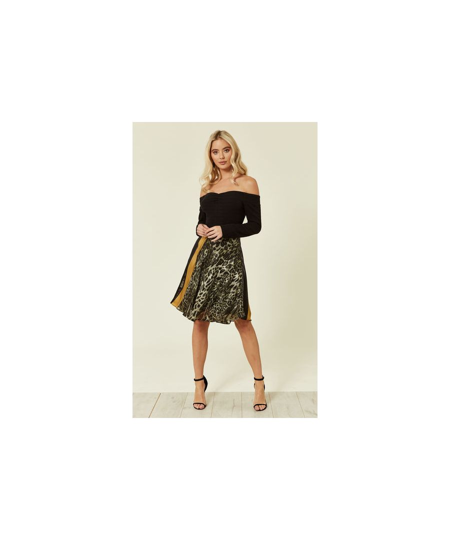 Image for Let's Get Lost Off The Shoulder Leopard Print Going Out Mini Dress in Black