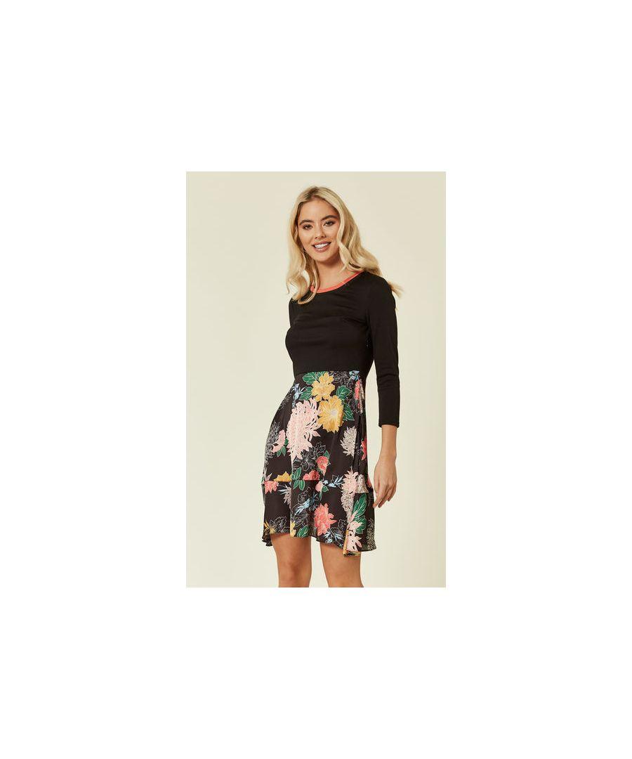 Image for Eliza Long Sleeved Floral Skater Satin Mini Dress in Black