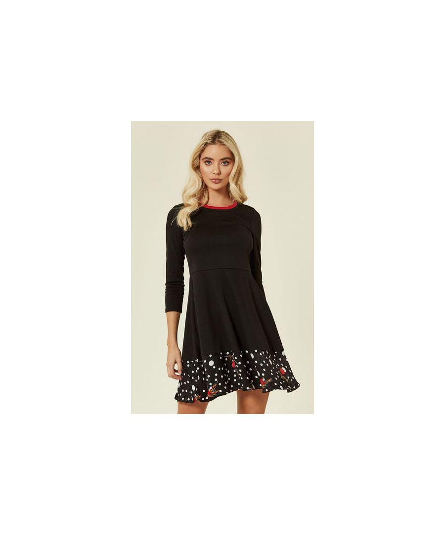 Image for Pearls Dream Long Sleeve Mini Polka Dot Skater Dress in Black
