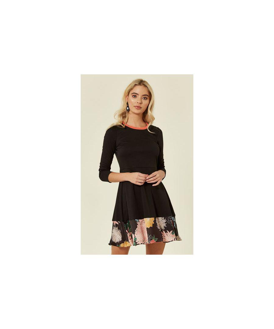 Image for Sweet Dreams Floral Skate Mini Dress in Black