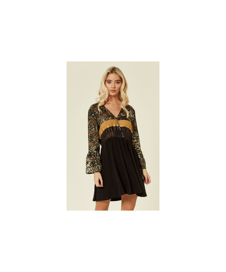 Image for Dolly Leopard Print Long Sleeved Mini Dress in Multicoloured