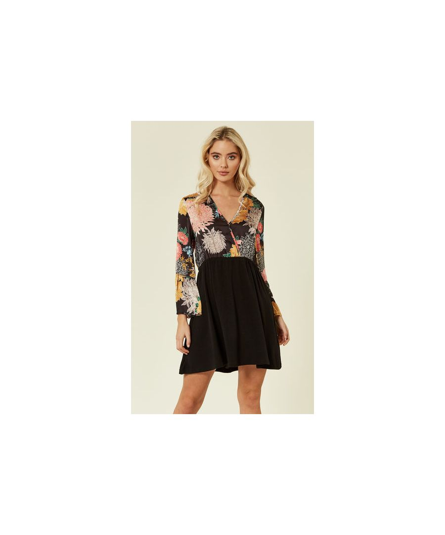 Image for Lotus Flower Floral Mini Dress in Black