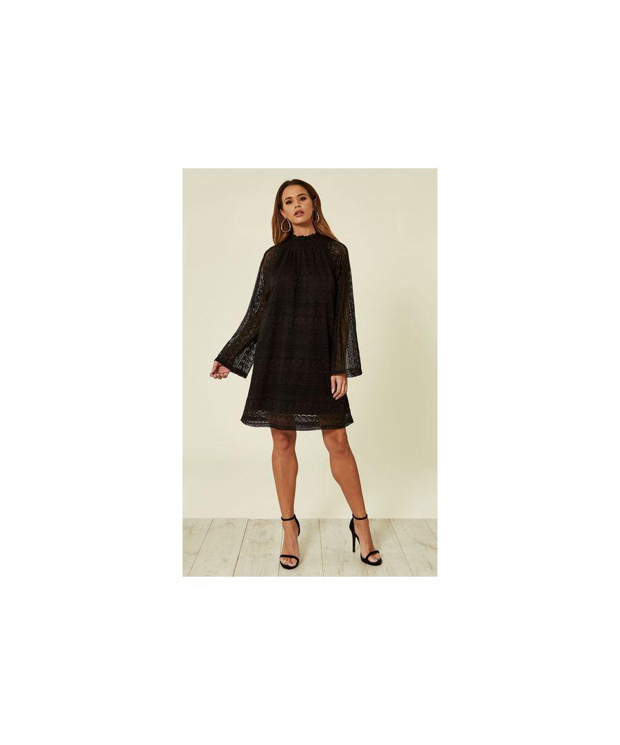 Image for Layla Lace Longsleeve Shift Dress in Black