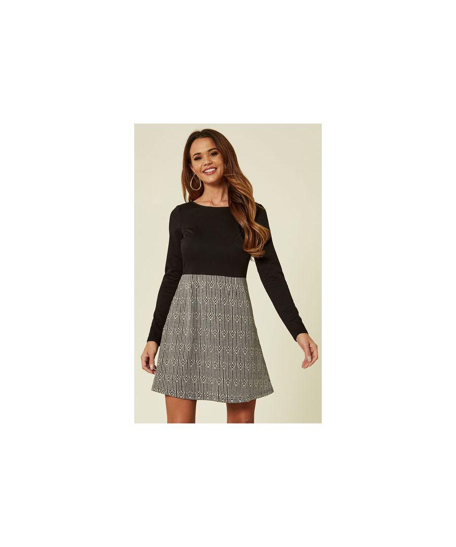 Image for Chelsea Morning Longsleeved Skater Dress in Black & Grey