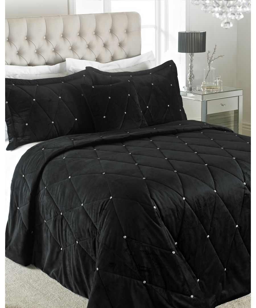 Image for New Diamante Bedspread Set Bla