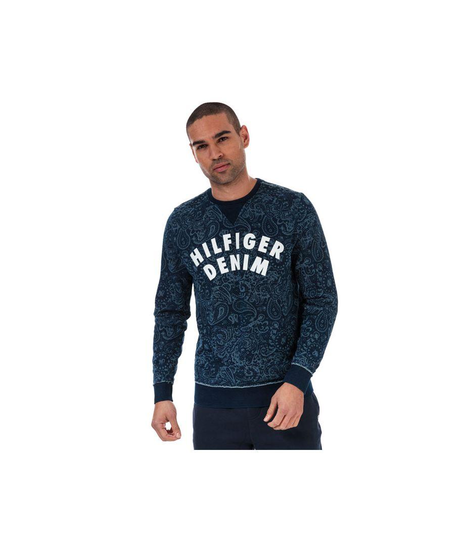 Image for Tommy Hilfiger Men's Paisley Print Logo Sweatshirt in Blue