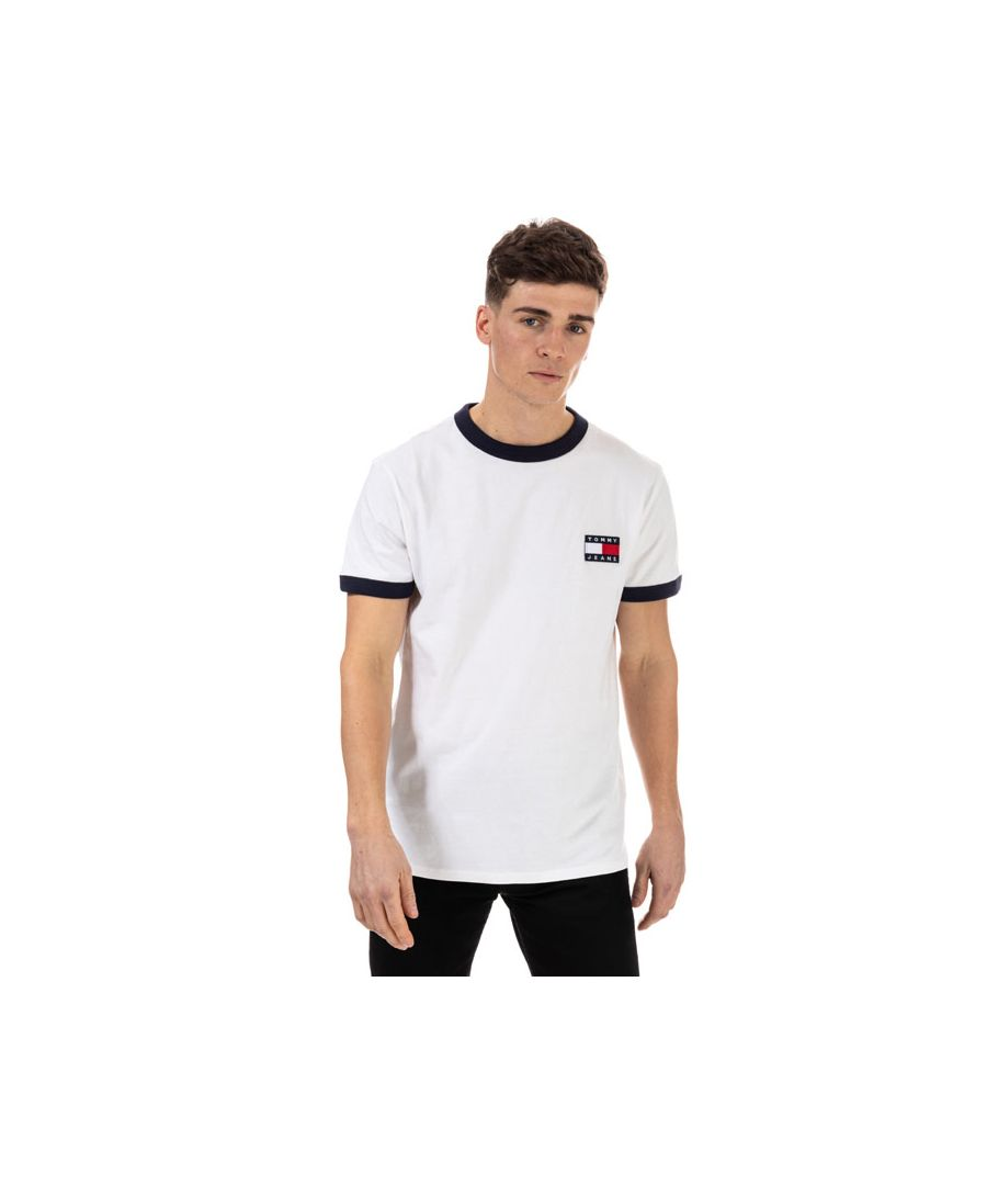 Image for Men's Tommy Hilfiger Branded Ringer T-Shirt in White Navy