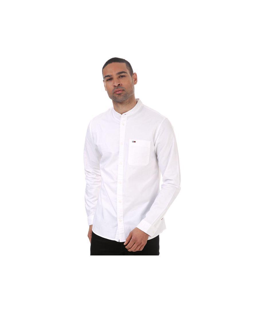 Image for Men's Tommy Hilfiger Mao Collar Oxford Shirt White Min White