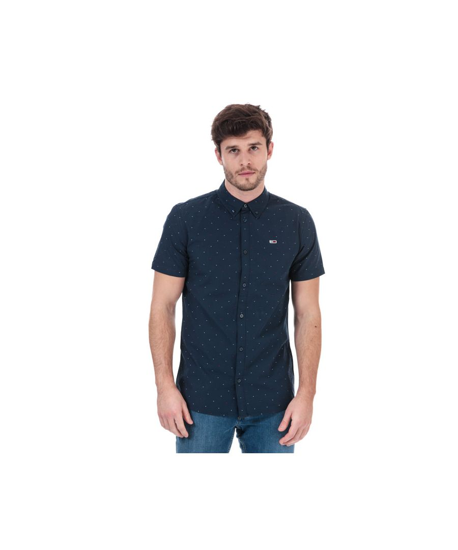 Image for Men's Tommy Hilfiger Dobby Short Sleeve Shirt in Navy