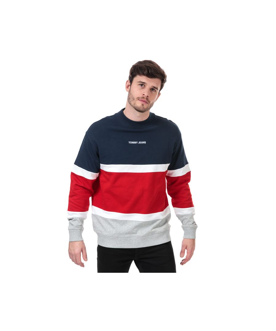 Image for Men's Tommy Hilfiger Retro Colourblock Sweatshirt in navy red white