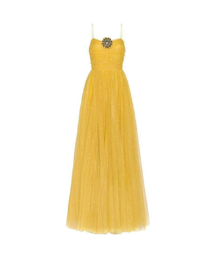 Image for Gucci Yellow Glitter Tulle Gown
